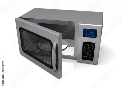 An open door Microwave Oven