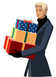 Side view of man holding gift box