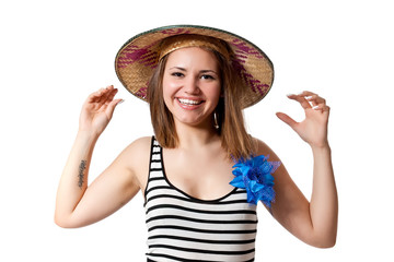 Beautiful girl in Conical Asian hat