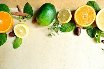 柑橘系のフルーツとハーブ