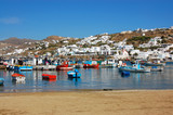 Mykonos - Colorful Boats and Hillside Homes