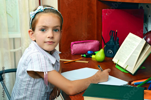 girl at the educational table