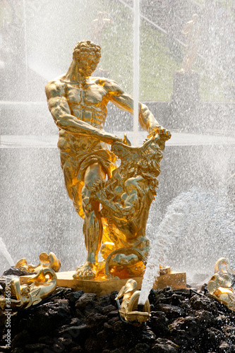 Famous Samson and the Lion fountain in Peterhof palace