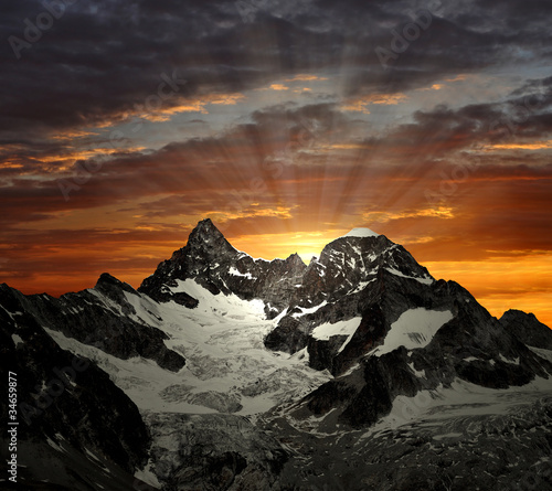 sunrise on the Ober Gabelhorn - Swiss Alps
