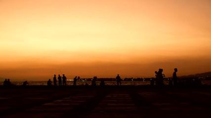silhouette ocean side