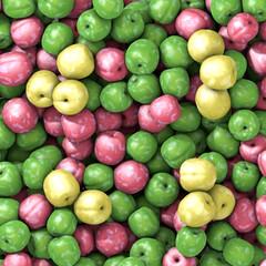 Three varieties of fresh plums with water drop