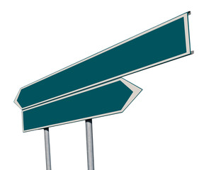 Double green signpost 2 isolated