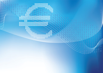 Euro in halftone in blue background