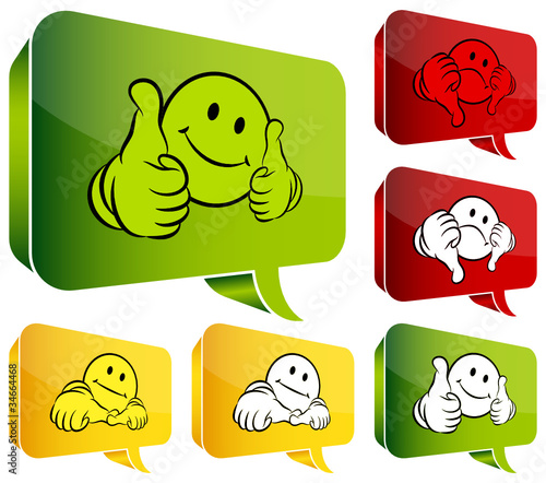 Speech Bubbles Smileys 2 Thumbs Up, Middle & Down