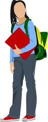 School girl is going to school. Back to school. Vector illustrat
