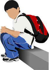 School boy is going to school. Back to school. Vector illustrati