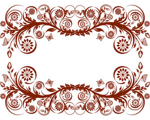 vector illustration of a floral frame with butterflies.