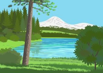 Paisaje con lago y montaña nevada
