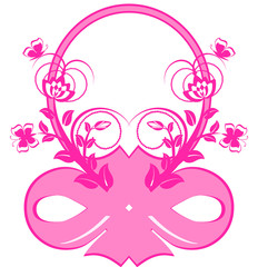 vector illustration of frame with pink ribbons and ornament