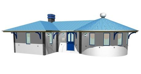 Casa Bianca e Azzurra-White and Blue House-3D