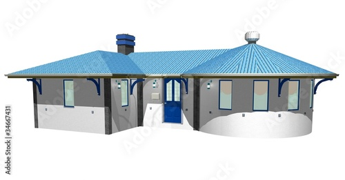 Casa Bianca e Azzurra-White and Blue House-3D