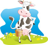 Funny cow carry wooden pail with milk. Vector illustration