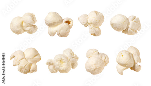 canvas print picture Popcorn isolated on white