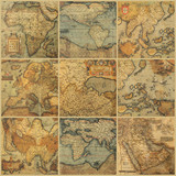 Fototapety collage with antique maps