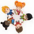3D Render of School Kids Holding Hands