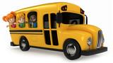 Fototapety 3D Render of Kids Riding School Bus