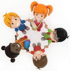 3D Render of School Kids Holding Hands