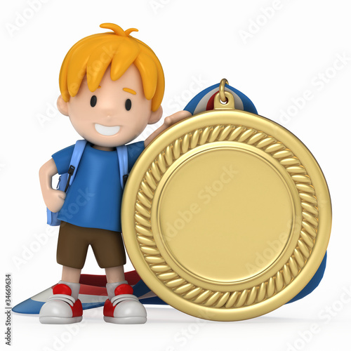 3D Render of Kid with Big Medal
