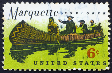 Postage stamp USA 1968 Father Jacques Marquette and Louis Jollie