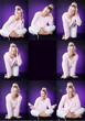 Emotionen Collage mit lila Hintergrund