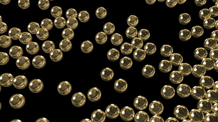 Gold spheres fill the space