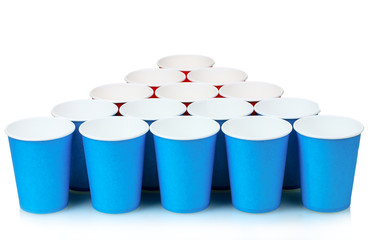 blue and red plastic cups isolated on white