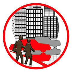 Road laws illustration with people and cars on the street