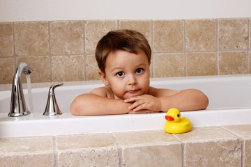 bath time with rubber ducky