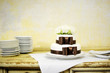 Delicious white and brown wedding cake