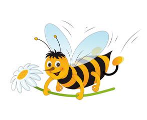 Honigbiene mit Blümchen