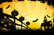 Grungy Halloween background with house pumpkins and bats