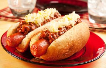 Chili Dog with Sauerkraut