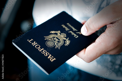 canvas print picture Passport in hand