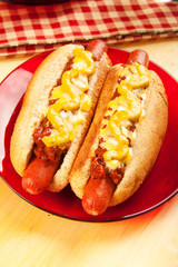 Chili Cheese Dogs with Mustard and Onions