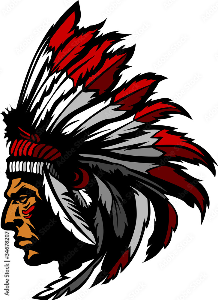 Indian chief mascot head graphic wall sticker