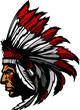 Indian Chief Mascot Head Graphic