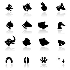 Icons set Animals.