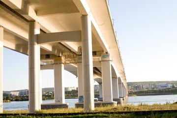 fragment of a concrete bridge across the Angara River