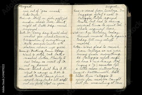 Foto op Plexiglas Retro World War One American Soldier's Dairy Pages