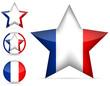 set of france star icon isolated on white background