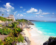 ancient Mayan ruins Tulum Caribbean turquoise - 34682862