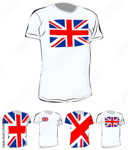 set of uk t shirt isolated on white background