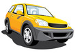 Vector isolated yellow suv without gradients