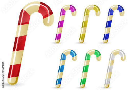 set of colorful candy cane isolated on white background