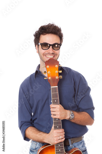 Young Man with Guitar Portrait